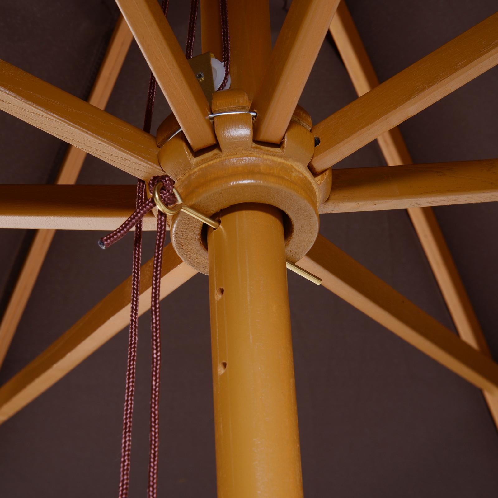 Outsunny-Parasol-Rond-3-x-2-5m-Jardin-Balcon-Bois-de-Bambou-8-entretoises miniature 6