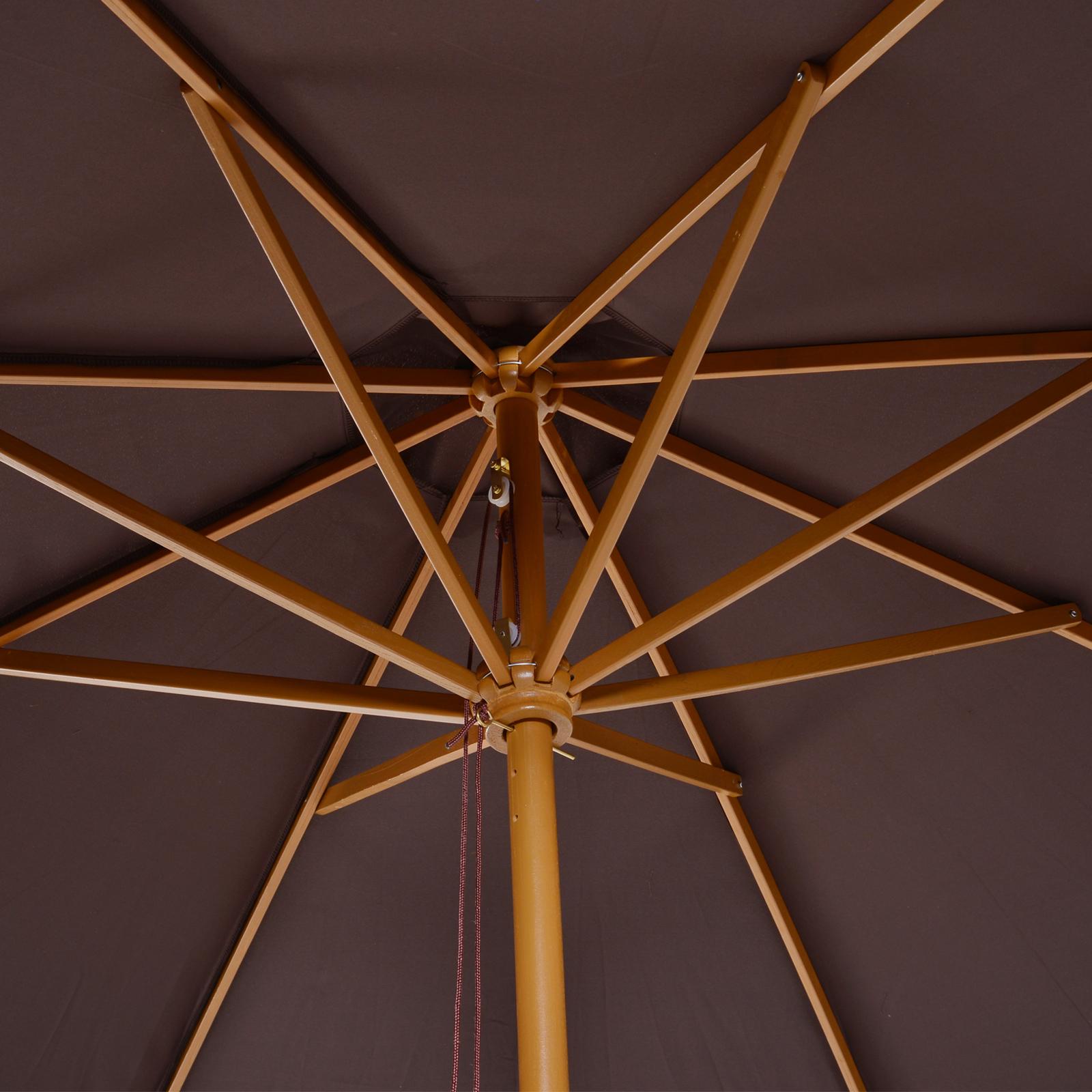 Outsunny-Parasol-Rond-3-x-2-5m-Jardin-Balcon-Bois-de-Bambou-8-entretoises miniature 9