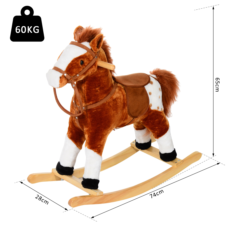 HOMCOM Animal Animal Animal à Bascule Cheval à Bascule Musical Peuplier 12 Modèles 8746a3