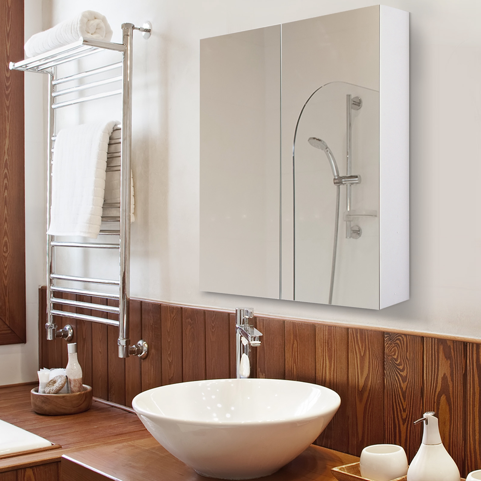 Details Sur Homcom Armoire Meuble Salle De Bain Avec Miroir Rangement En Bois Mdf Blanc