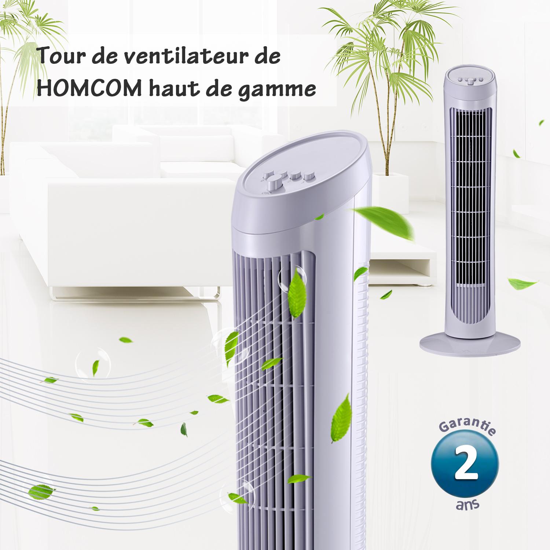 HOMCOM-Ventilateur-Colonne-Oscillant-Tour-Oscillant-Silencieux miniature 10