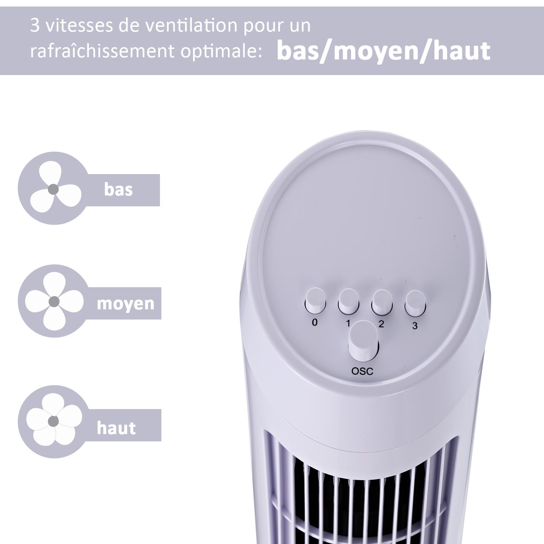 HOMCOM-Ventilateur-Colonne-Oscillant-Tour-Oscillant-Silencieux miniature 6