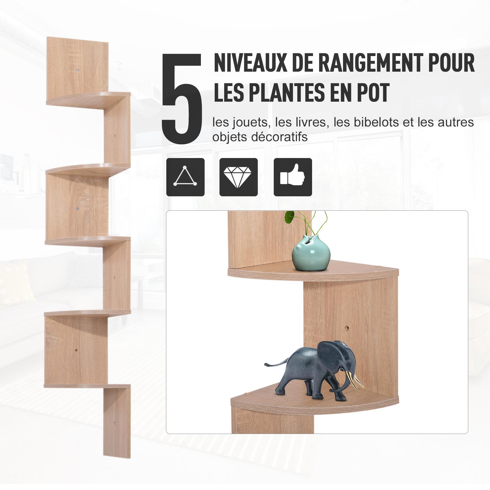 Etagere-d-Angle-Etagere-Murale-Zigzag-5-Niveaux-20-x-20-x-126-cm miniature 14