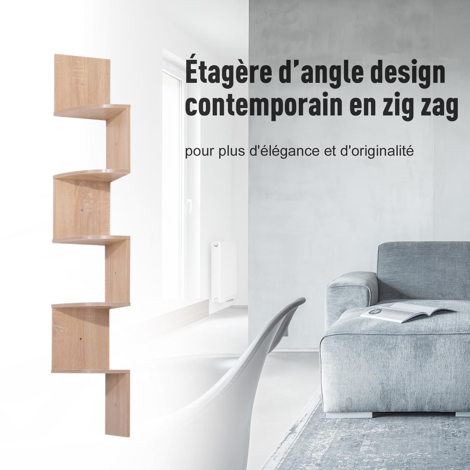 Etagere-d-Angle-Etagere-Murale-Zigzag-5-Niveaux-20-x-20-x-126-cm miniature 15