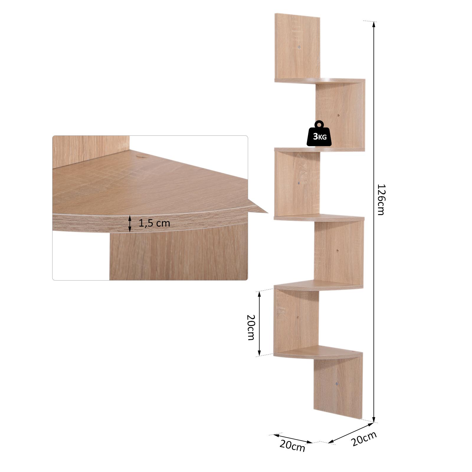 Etagere-d-Angle-Etagere-Murale-Zigzag-5-Niveaux-20-x-20-x-126-cm miniature 13