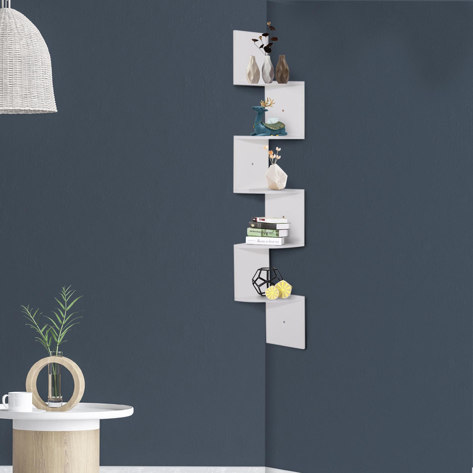 Etagere-d-Angle-Etagere-Murale-Zigzag-5-Niveaux-20-x-20-x-126-cm miniature 3
