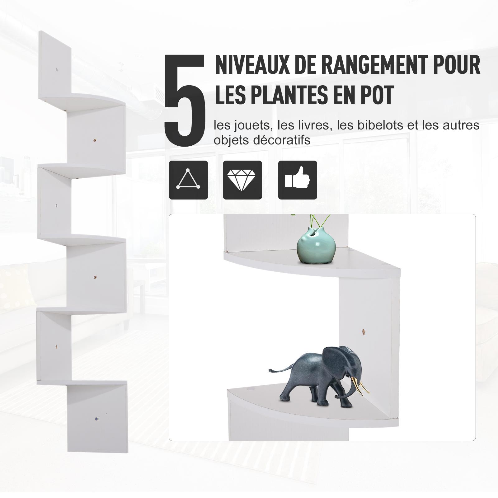 Etagere-d-Angle-Etagere-Murale-Zigzag-5-Niveaux-20-x-20-x-126-cm miniature 5