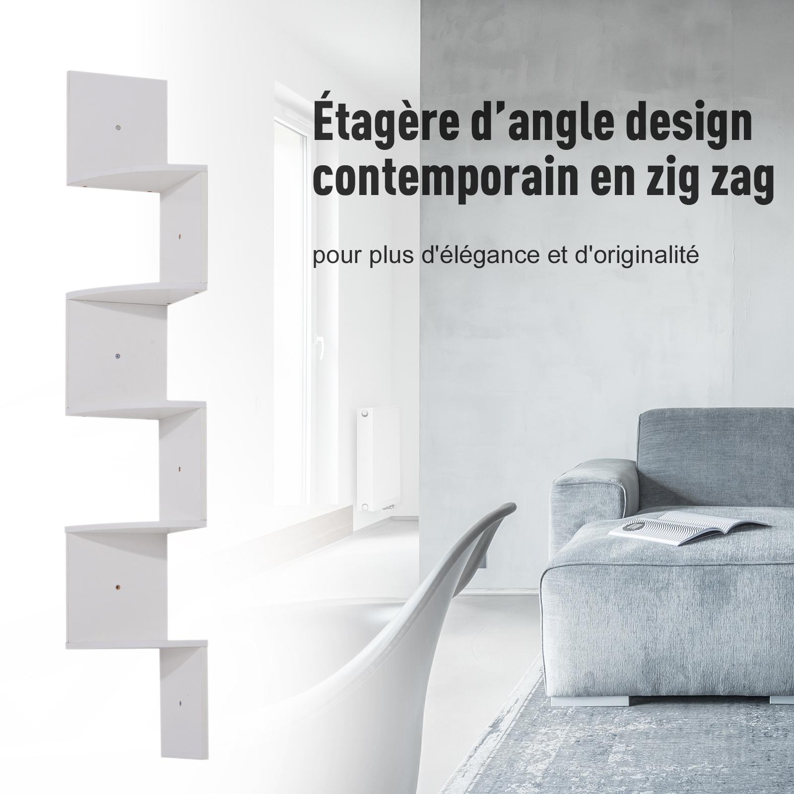 Etagere-d-Angle-Etagere-Murale-Zigzag-5-Niveaux-20-x-20-x-126-cm miniature 6