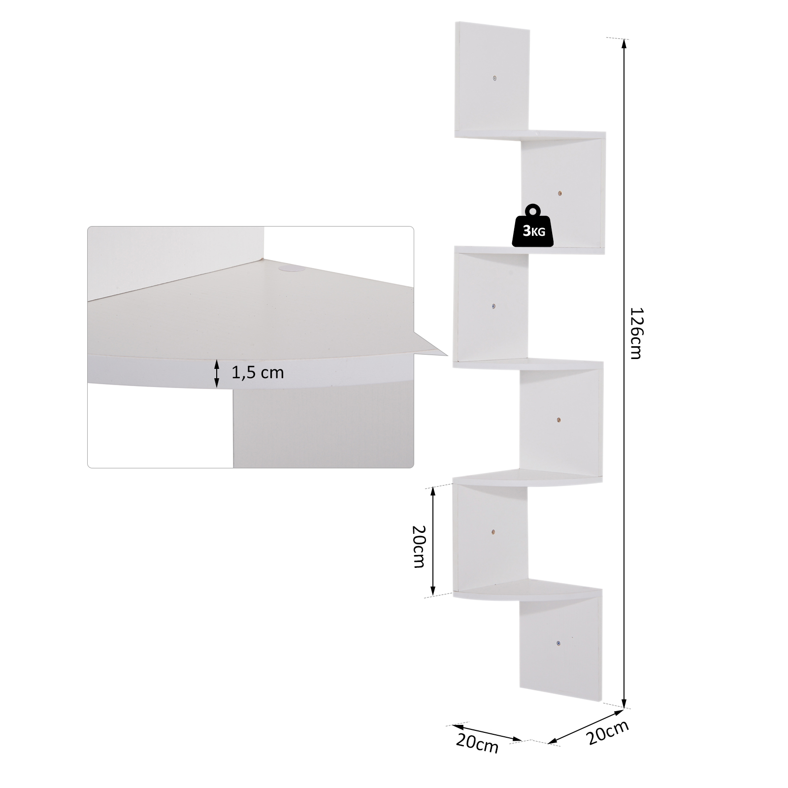 Etagere-d-Angle-Etagere-Murale-Zigzag-5-Niveaux-20-x-20-x-126-cm miniature 4