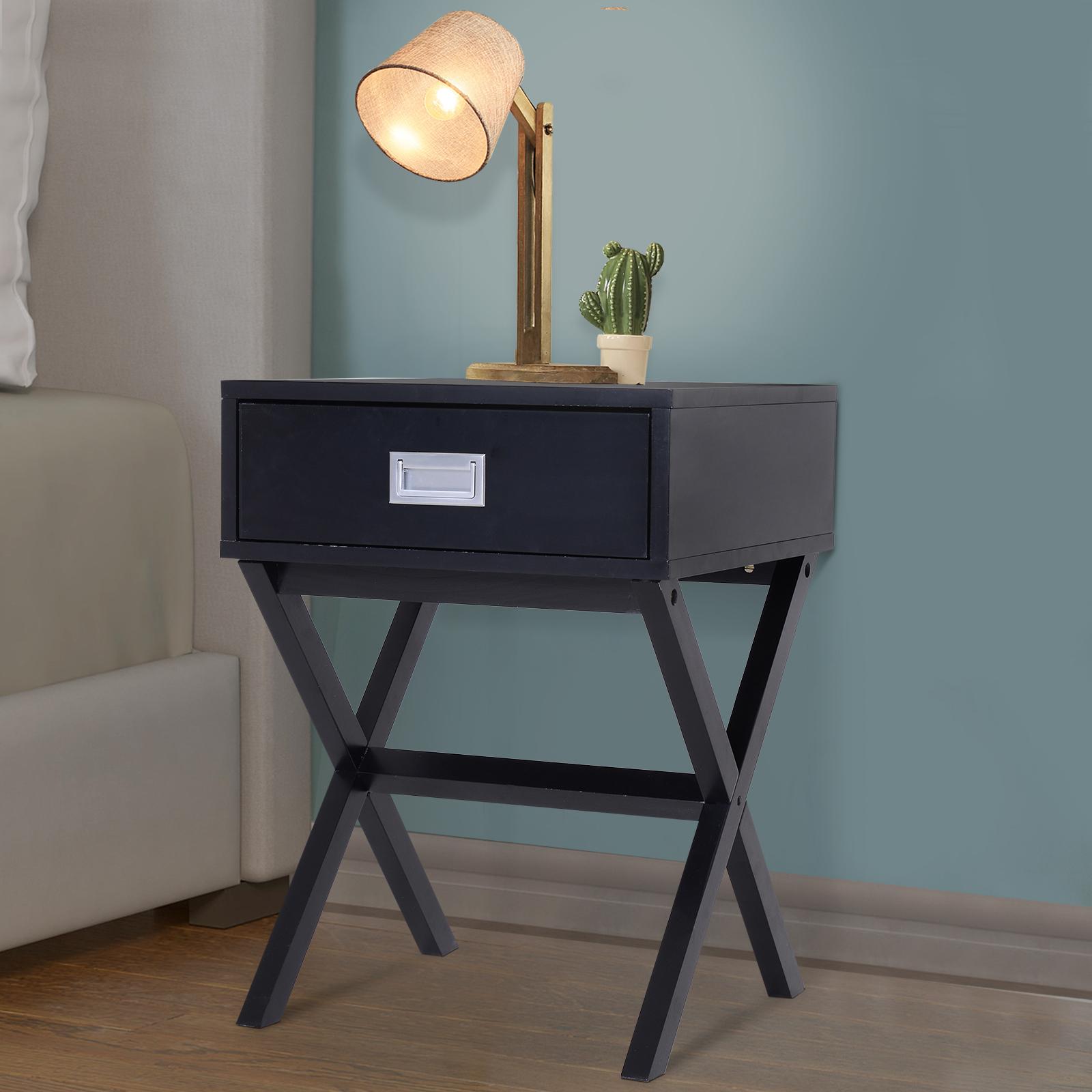 Détails sur HOMCOM Chevet table de nuit design contemporain dim. 40L x 40l  x 56H cm tiroir