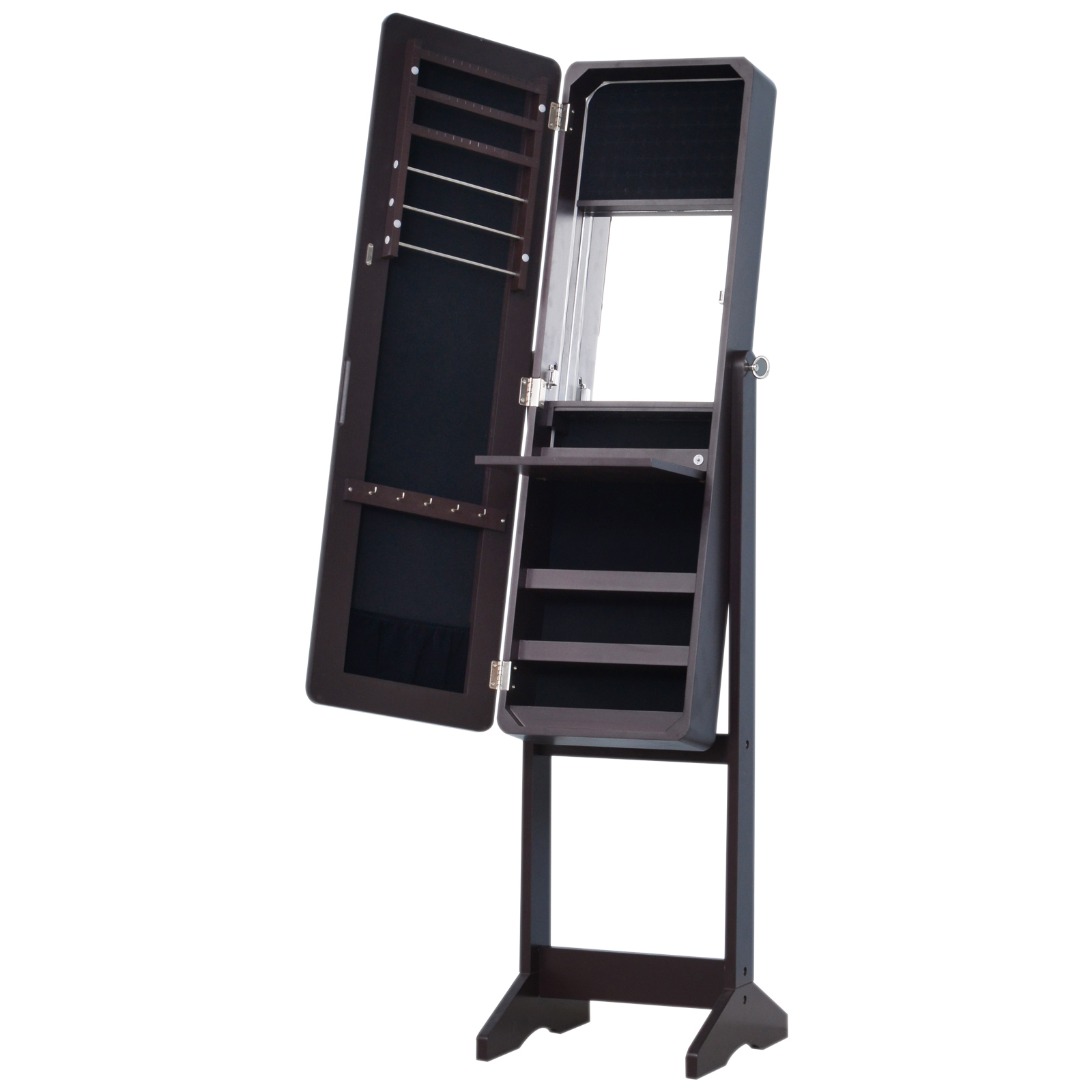 homcom armoire bijoux armoire de rangement sur pied avec. Black Bedroom Furniture Sets. Home Design Ideas