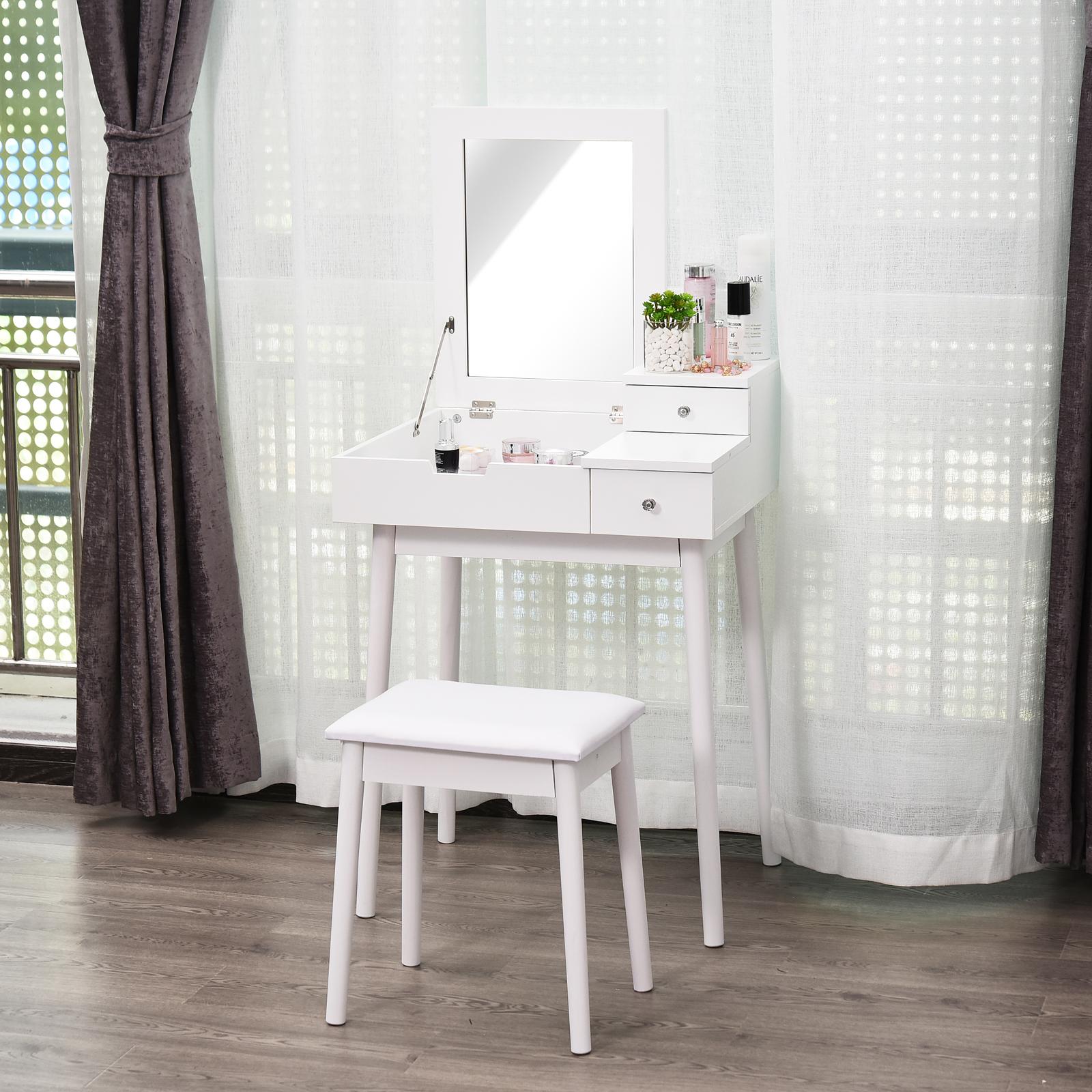 Dressing Avec Coiffeuse Intégrée détails sur homcom coiffeuse, table de maquillage, avec miroir escamotable,  2 tiroirs, blanc