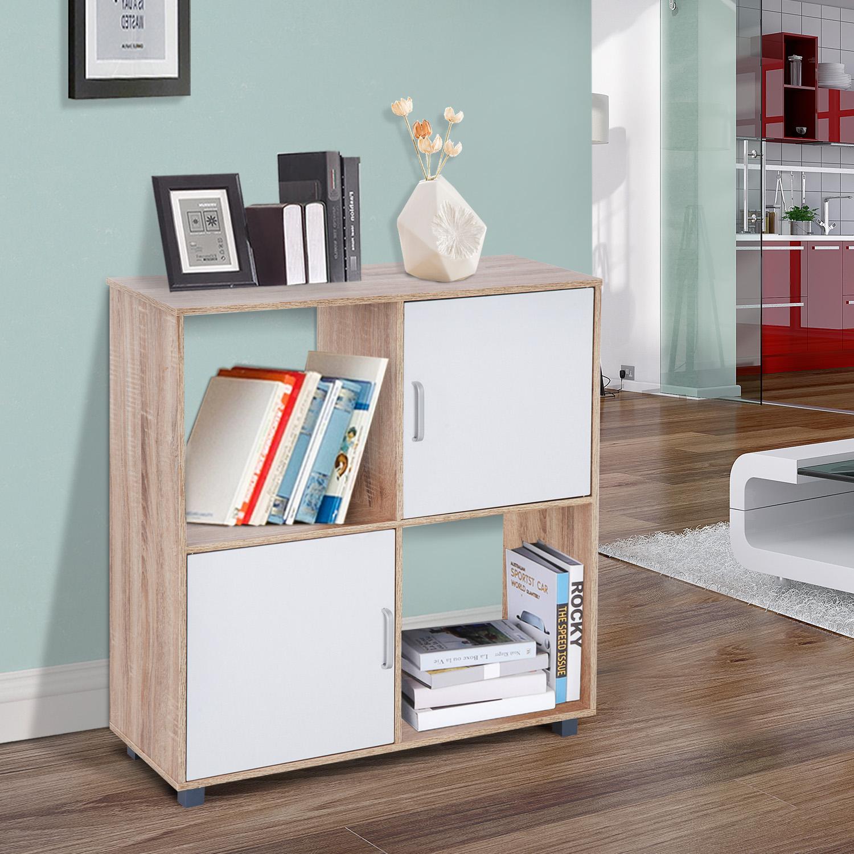 homcom bibliothque etagre meuble de rangement 2 casiers 2 placards avec porte