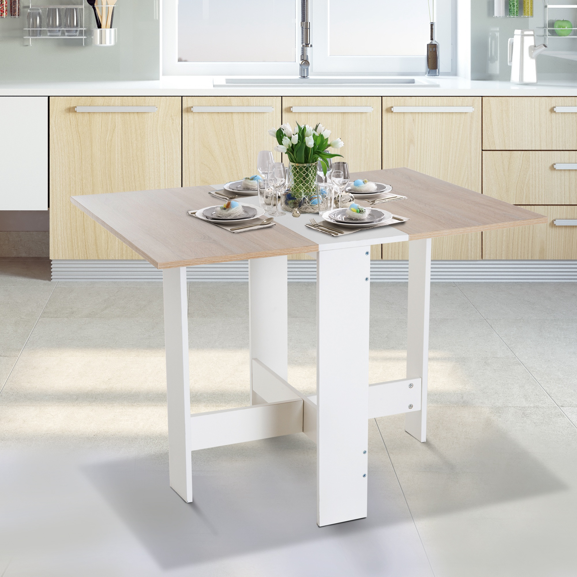 Table Pour Salle À Manger détails sur homcom table de cuisine pliable table de salle à manger pour  6personnes bicolore