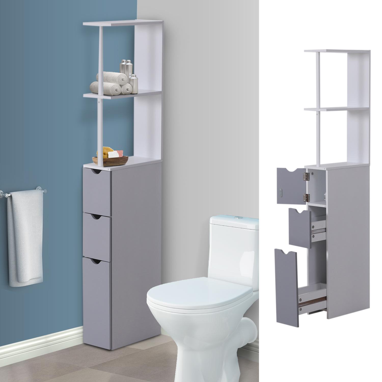 Toilette Gain De Place détails sur homcom meuble wc etagère gain de place pour toilette 3 niveaux  2 tiroirs 136 cm