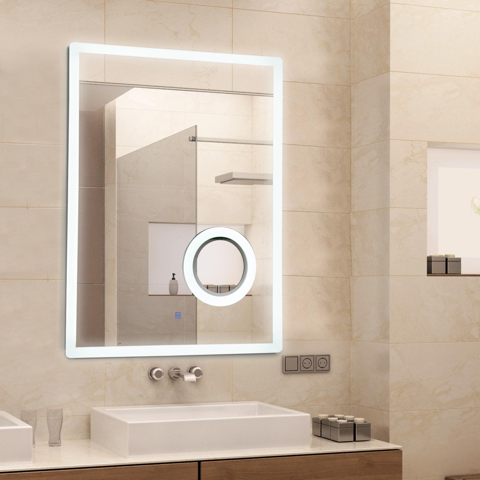 Miroir Eclairant Salle De Bain détails sur kleankin miroir lumineux led salle de bain fonction  grossissante 65 w 60 x 80 cm