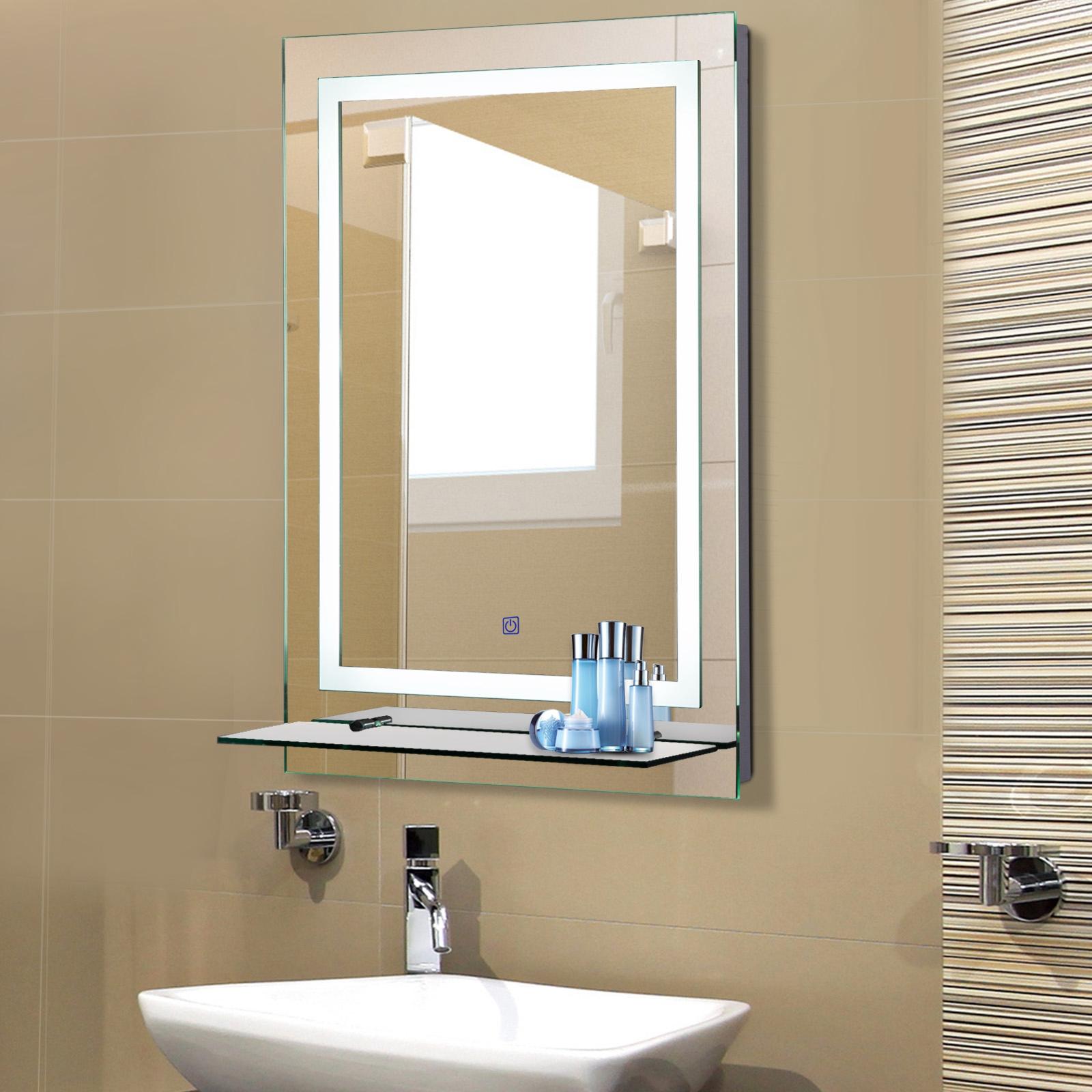 Miroir Eclairant Salle De Bain détails sur kleankin miroir lumineux led salle de bain 38 w 50 x 4 x 70 cm
