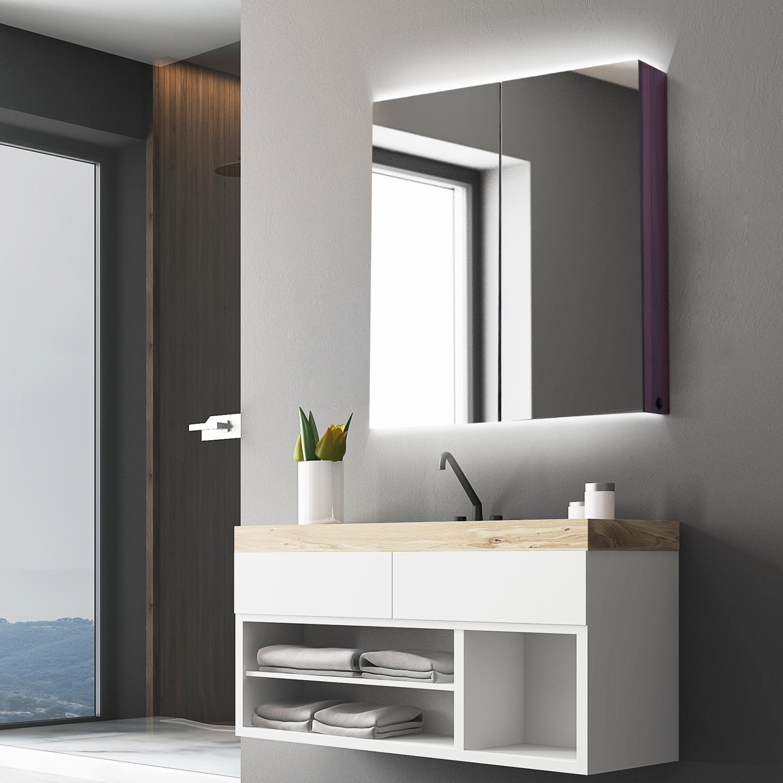 Détails sur kleankin Armoire murale miroir salle de bain lumineuse LED 19 W  19 étagères dim.