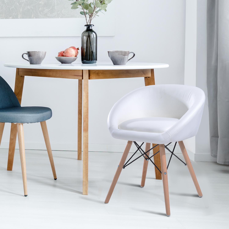 Homcom Chaise De Cuisine Salle A Manger Style Scandinave Blanc