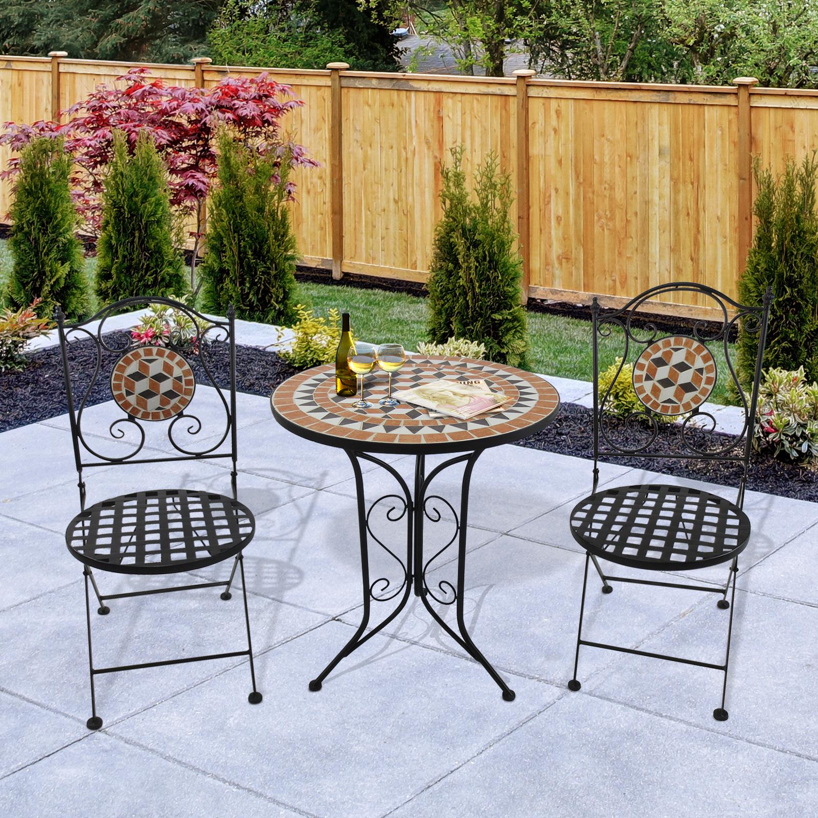 Table De Jardin Mosaique.Details Sur Outsunny Ensemble De Table Et Chaise Mobilier De Jardin Mosaique Metal