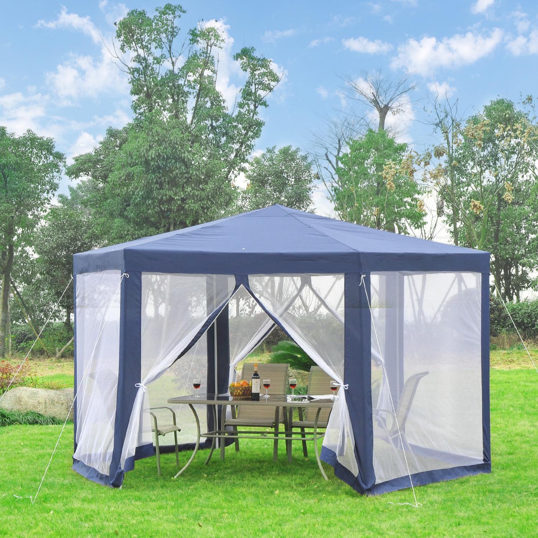 Outsunny Tonnelle de Jardin Tente de Réception Hexagonale Style Cosy ...