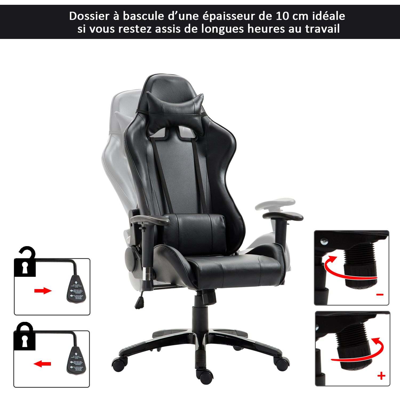 HOMCOM-Chaise-Fauteuil-Siege-de-Bureau-Racing-Gamer-Hauteur-Reglable miniature 24