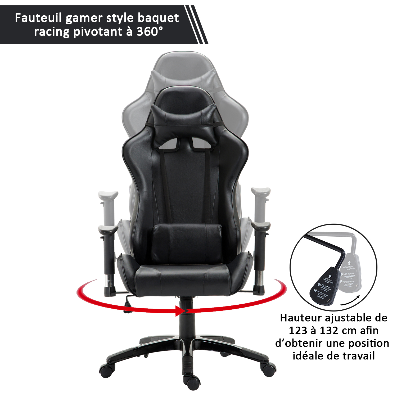 HOMCOM-Chaise-Fauteuil-Siege-de-Bureau-Racing-Gamer-Hauteur-Reglable miniature 25