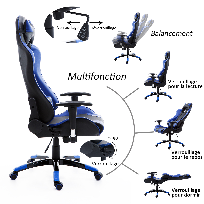 HOMCOM-Chaise-Fauteuil-Siege-de-Bureau-Racing-Gamer-Hauteur-Reglable miniature 15