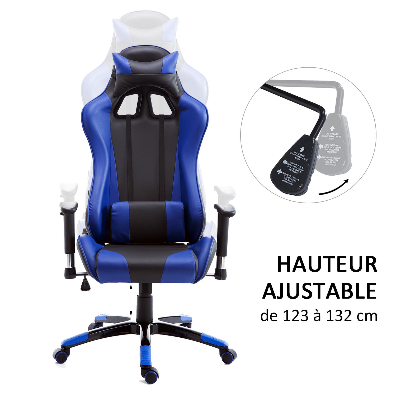 HOMCOM-Chaise-Fauteuil-Siege-de-Bureau-Racing-Gamer-Hauteur-Reglable miniature 16