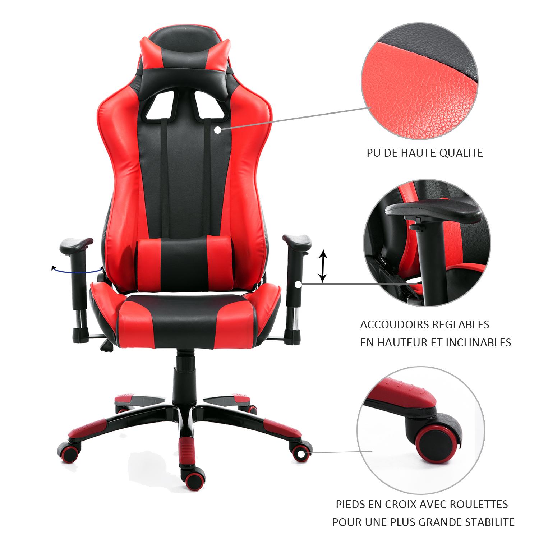 HOMCOM-Chaise-Fauteuil-Siege-de-Bureau-Racing-Gamer-Hauteur-Reglable miniature 32