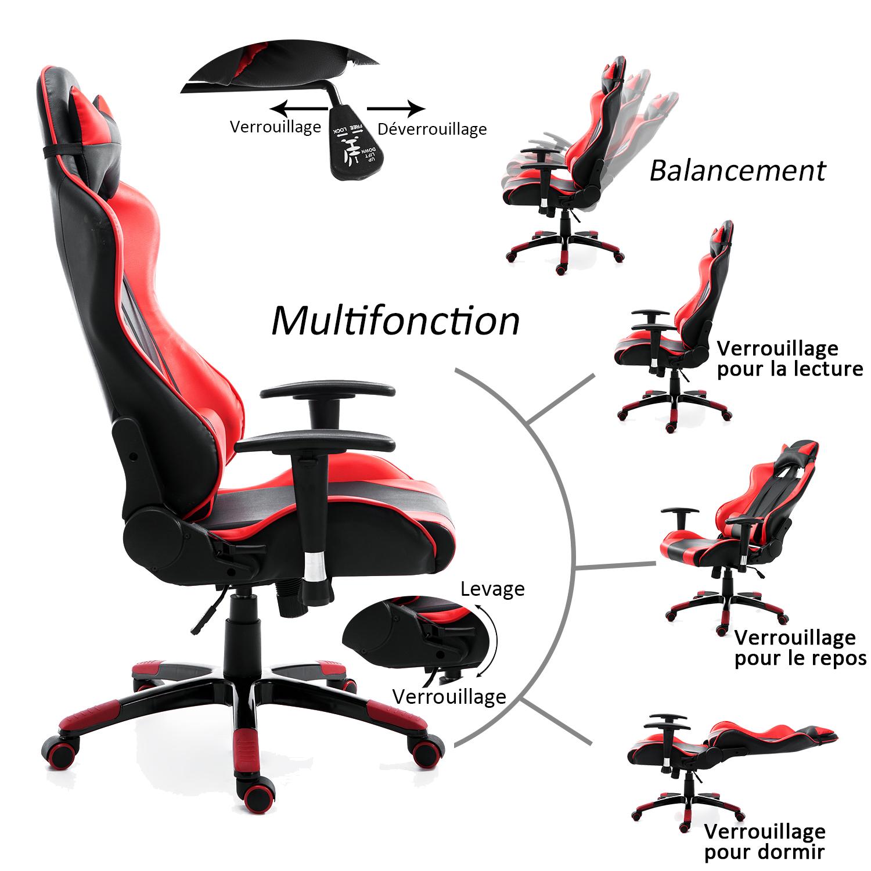 HOMCOM-Chaise-Fauteuil-Siege-de-Bureau-Racing-Gamer-Hauteur-Reglable miniature 33
