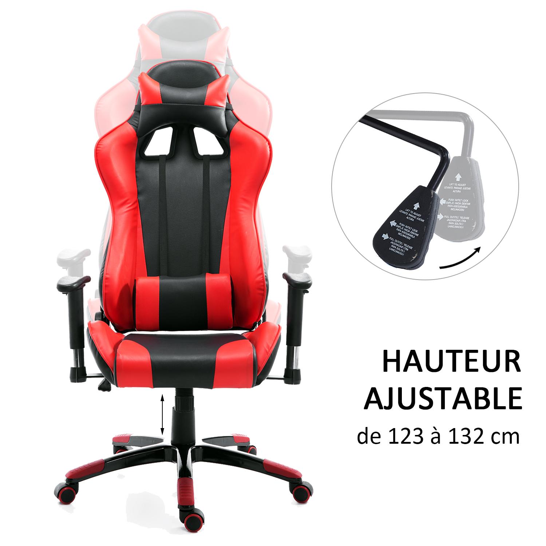 HOMCOM-Chaise-Fauteuil-Siege-de-Bureau-Racing-Gamer-Hauteur-Reglable miniature 34