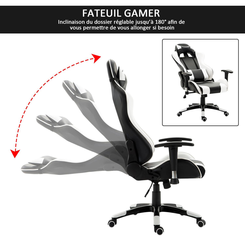HOMCOM-Chaise-Fauteuil-Siege-de-Bureau-Racing-Gamer-Hauteur-Reglable miniature 5