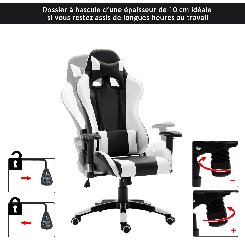 HOMCOM-Chaise-Fauteuil-Siege-de-Bureau-Racing-Gamer-Hauteur-Reglable miniature 6