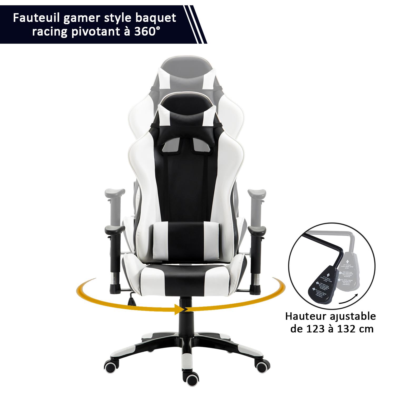 HOMCOM-Chaise-Fauteuil-Siege-de-Bureau-Racing-Gamer-Hauteur-Reglable miniature 7