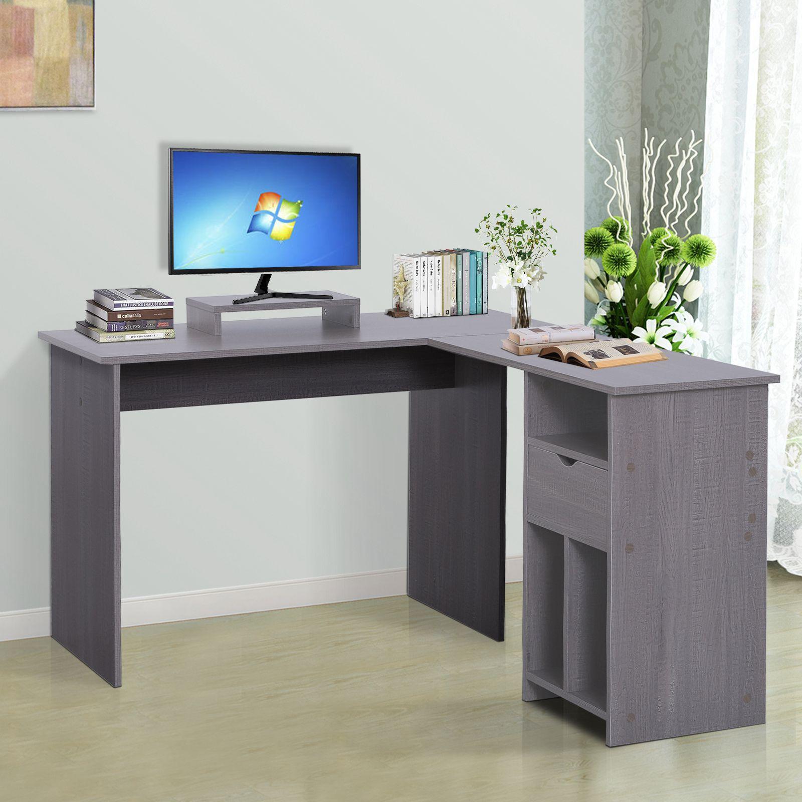 Details Sur Vinsetto Bureau Informatique Table D Angle Bureau Support Moniteur 3 Niches Gris