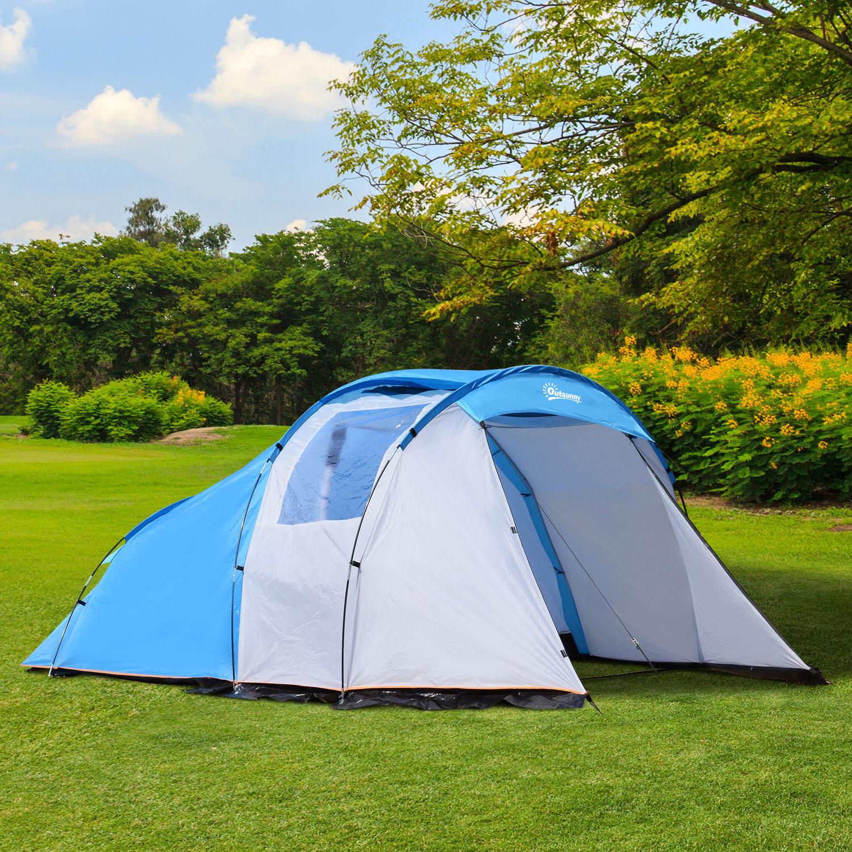 20c97b3c229069 Outsunny Tente de Camping 2-4 Personnes Double Fenêtre 3,75 x 2,4 x 1,5 m  Bleu