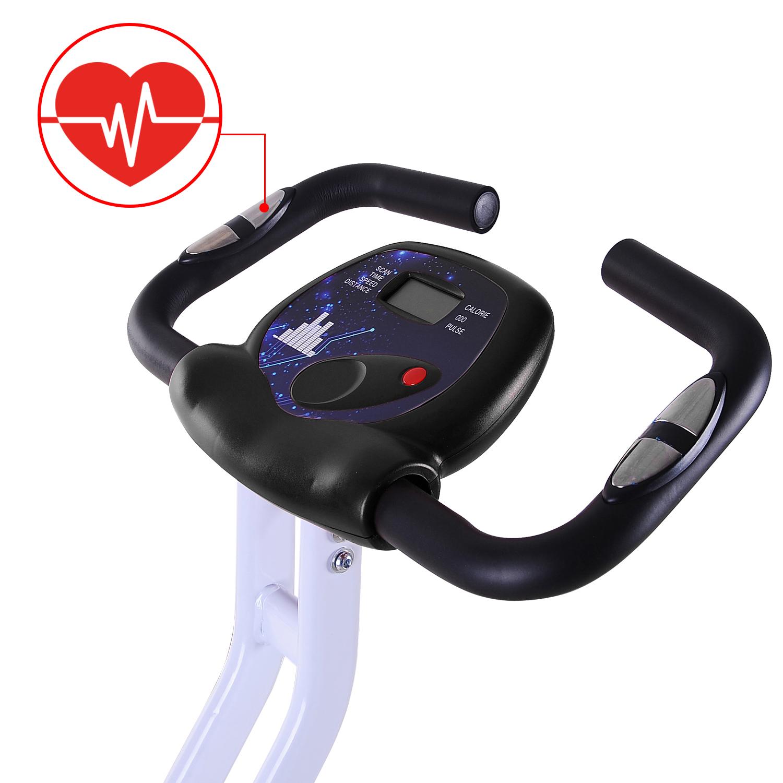 Velo-d-Appartement-Cardio-Pliable-Ecran-LCD-Capteurs-de-Pouls-Acier miniature 14