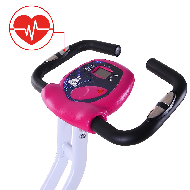 Velo-d-Appartement-Cardio-Pliable-Ecran-LCD-Capteurs-de-Pouls-Acier miniature 22