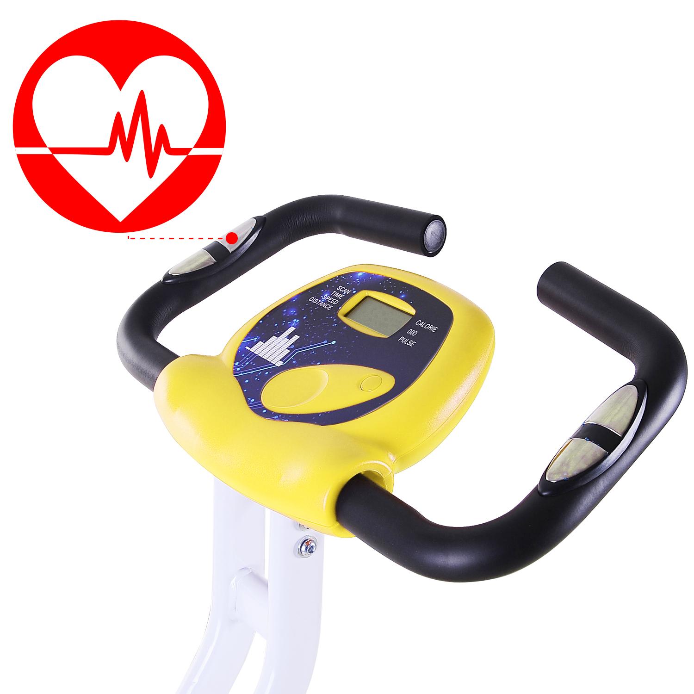 Velo-d-Appartement-Cardio-Pliable-Ecran-LCD-Capteurs-de-Pouls-Acier miniature 7