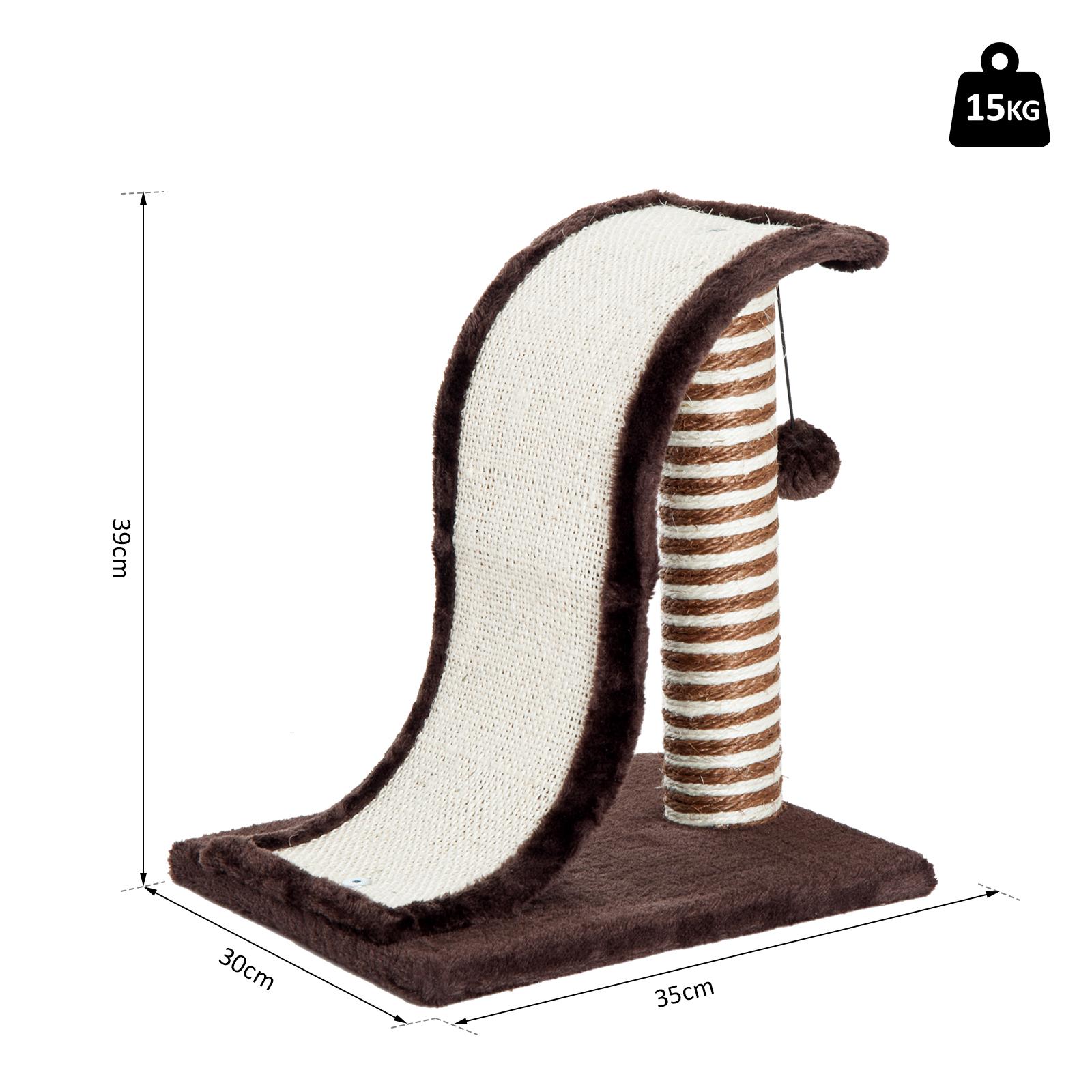 PawHut-Griffoir-a-chat-avec-Tronc-et-Boule-Suspendue-Peluche-et-Sisal miniature 22