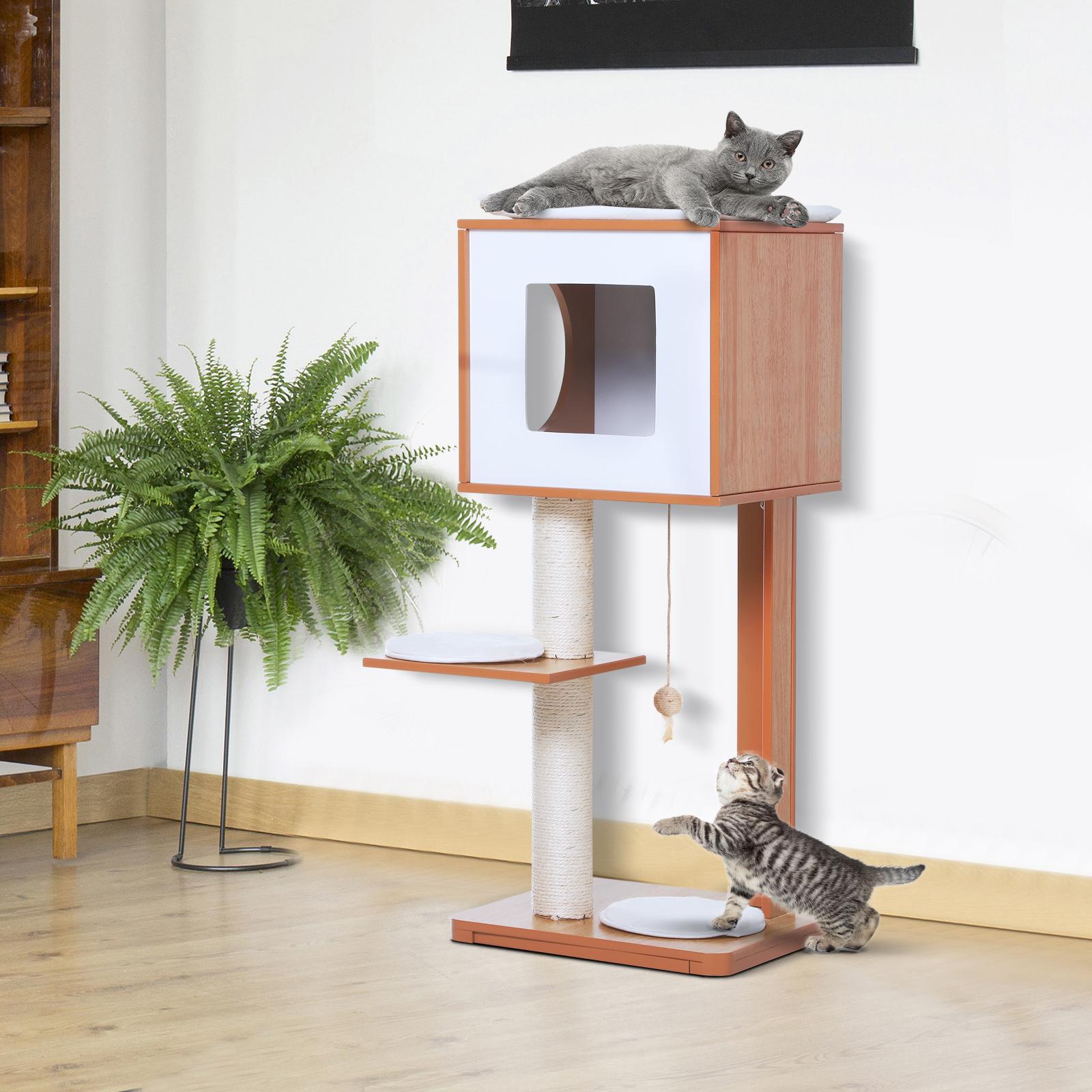 Griffoir Chat Fait Maison détails sur pawhut arbre à chat griffoir grattoir niche 2 plate-formes 4  coussins amovibles