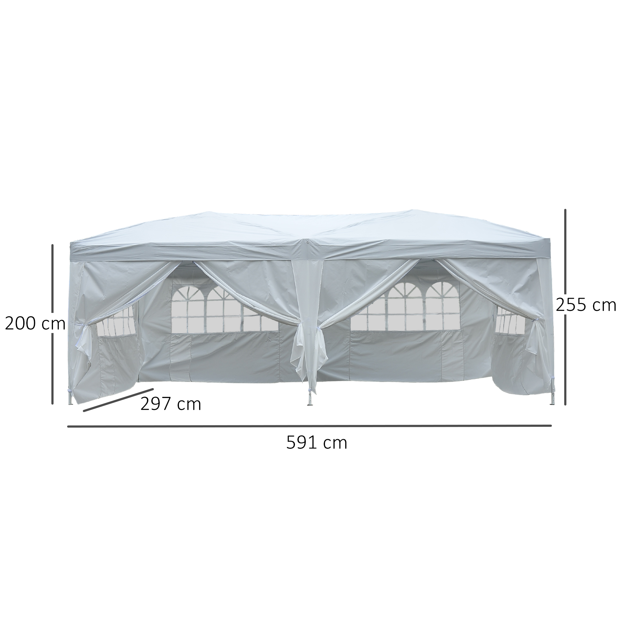 Indexbild 20 - Outsunny 3x6m Faltpavillon Pavillon Zelt Partyzelt Gartenzelt Faltbar Weiß/Blau