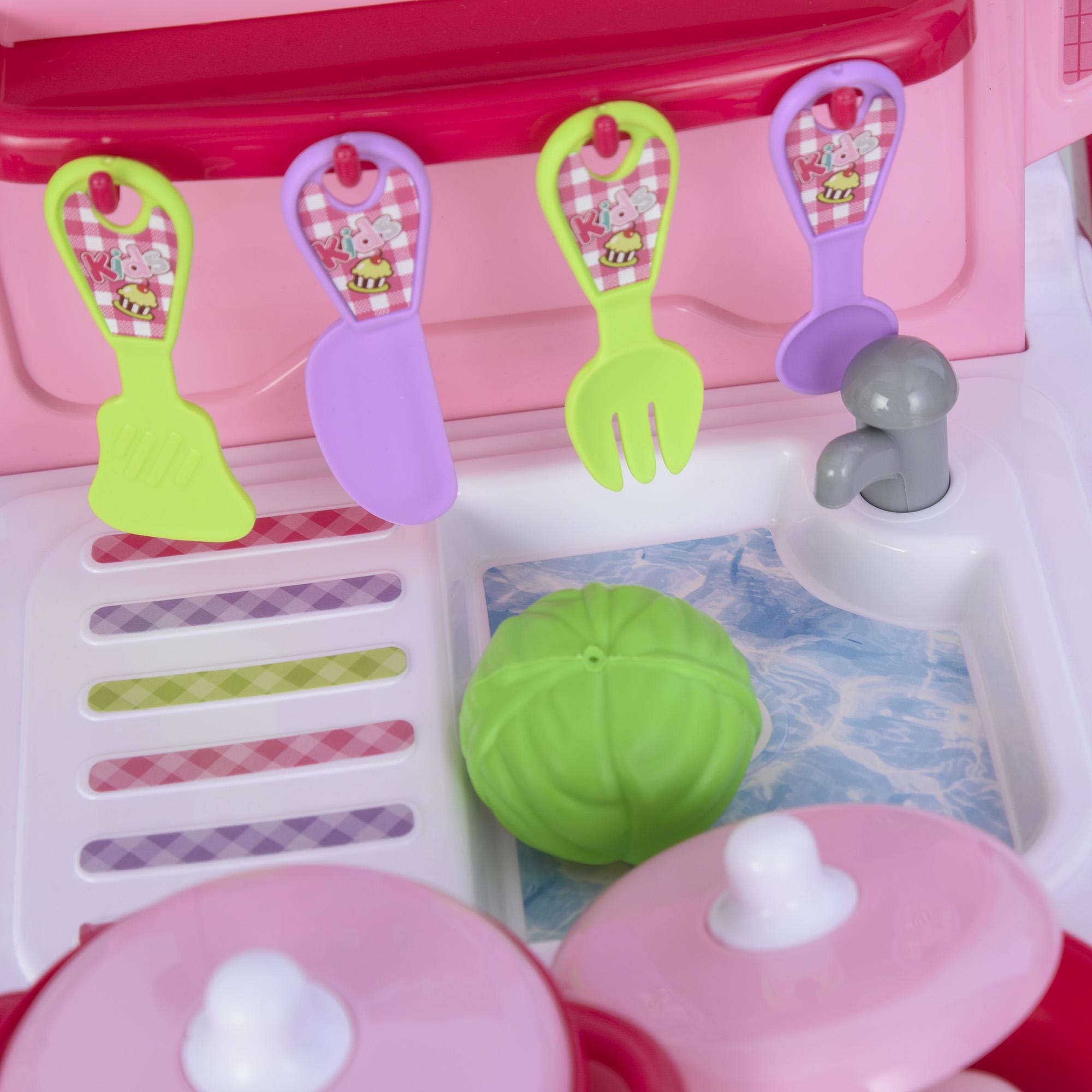 Kinderküche mit 42-Zubehör Spielküche Spielzeugküche Kunststoff Weiß+Rosa