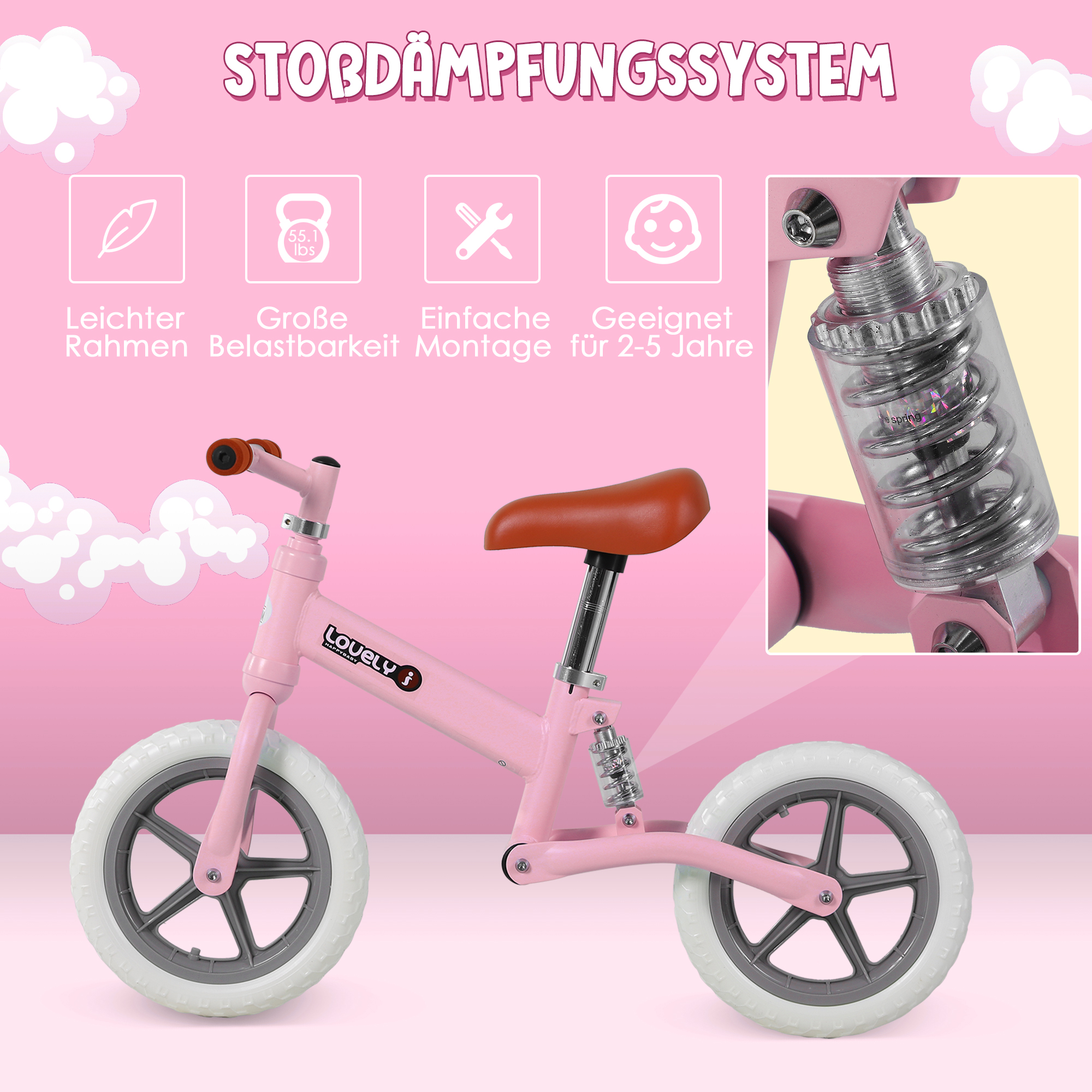Indexbild 22 - HOMCOM Laufrad mit Stoßdämpfer Kinderrad Lauflernrad Balance Bike 2-5 Jahre
