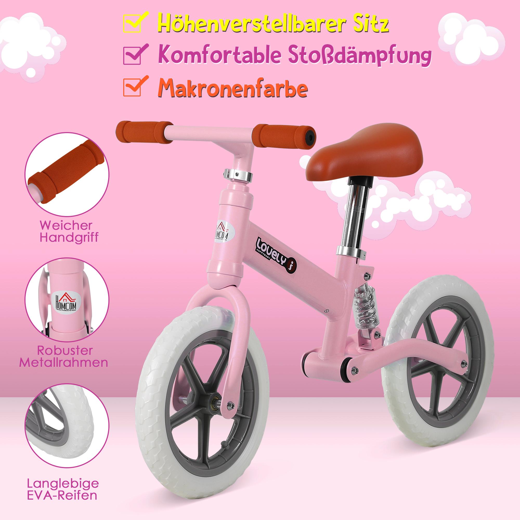 Indexbild 21 - HOMCOM Laufrad mit Stoßdämpfer Kinderrad Lauflernrad Balance Bike 2-5 Jahre