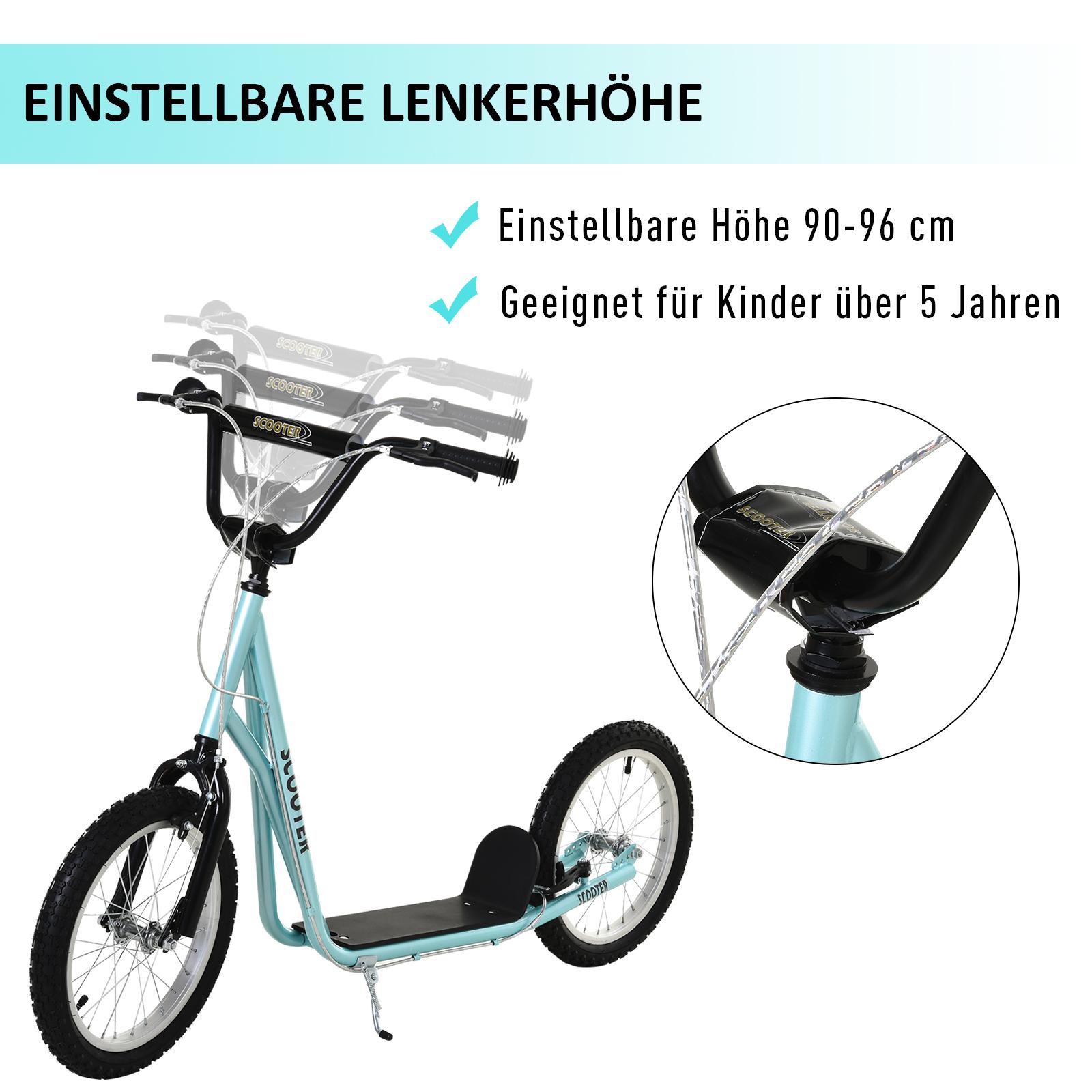 Indexbild 11 - HOMCOM-Tretroller-Kinderroller-Scooter-Cityroller-Roller-verstellbar-Blau-Gruen