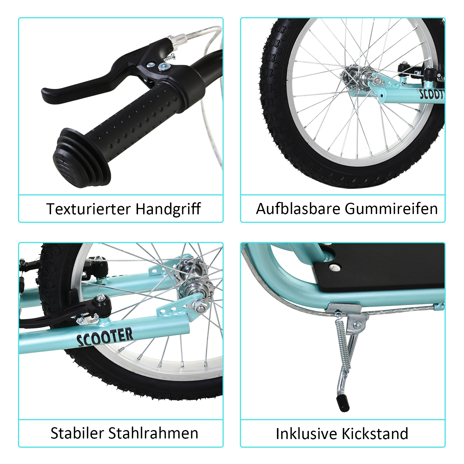 Indexbild 10 - HOMCOM-Tretroller-Kinderroller-Scooter-Cityroller-Roller-verstellbar-Blau-Gruen