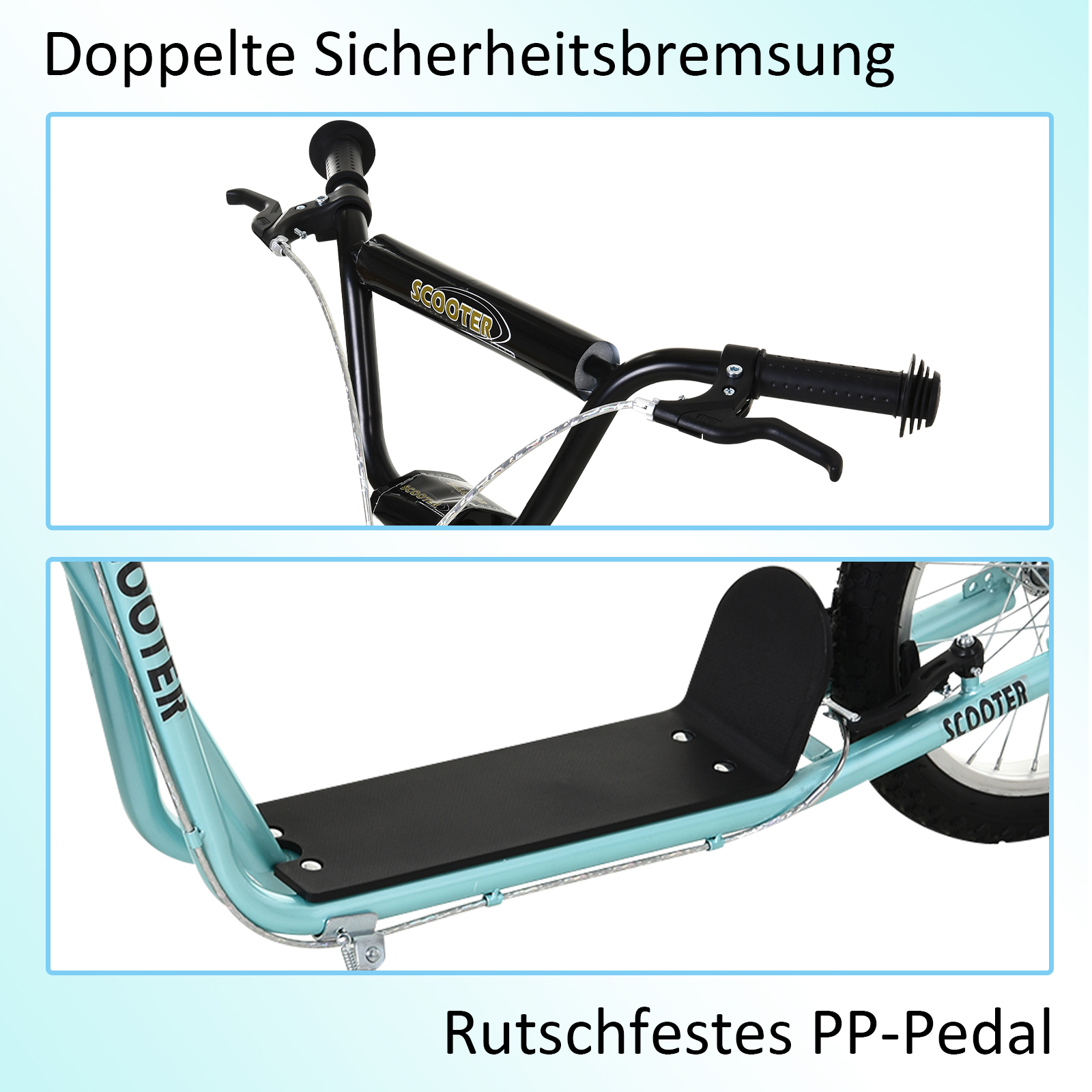 Indexbild 12 - HOMCOM-Tretroller-Kinderroller-Scooter-Cityroller-Roller-verstellbar-Blau-Gruen