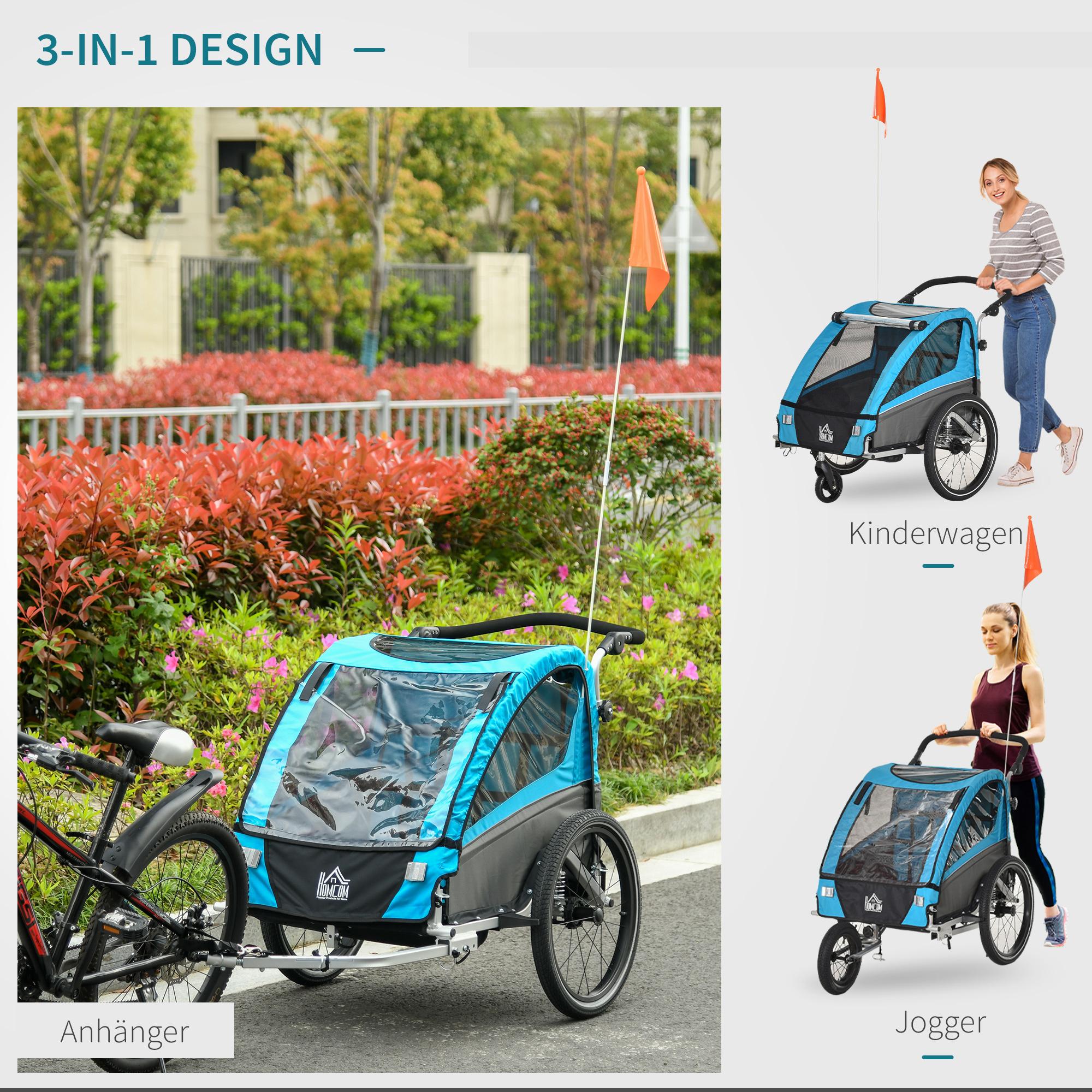 Indexbild 11 - HOMCOM 3 in 1 Kinderanhänger Jogger Fahrradanhänger für 2 Kinder Alu